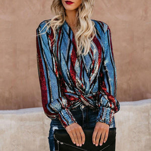 Sexy V Collar Colorful Striped Sequins Embellished Loose Blouse