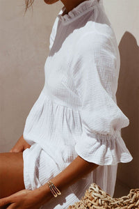 (Limited Time Special) Solid Color Short-Sleeved Shirt Collar Cotton And Linen Mini Dress