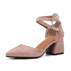 Sweet Plain Pointed Toe Coarse Heel Sandal
