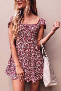 Fashion Square Neck Floral Printed Backless Vacation Dress