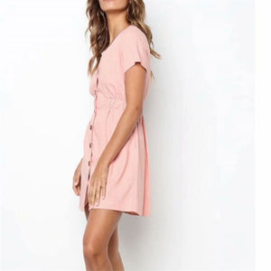 Daily Plain V Collar Slim Shift Dress