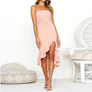Sexy Word Collar Ruffled Wrap Halter High Waist Dress