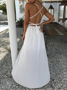 Lace Sling Stitching Backless Dress