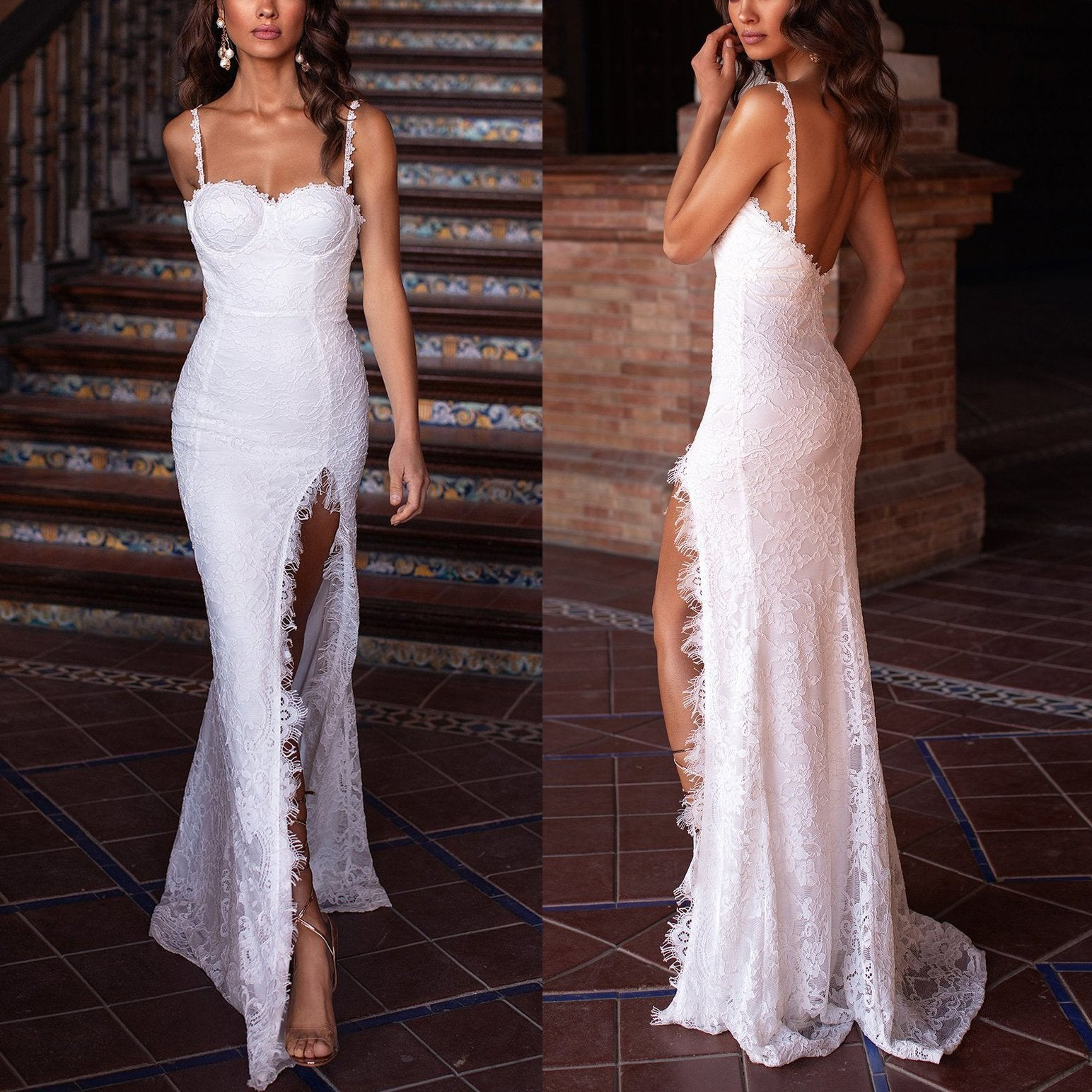 High-End Sexy Suspenders Open Back Sexy Evening Dress