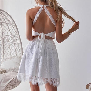 Sexy Hollow Out Backless Mini Dresses