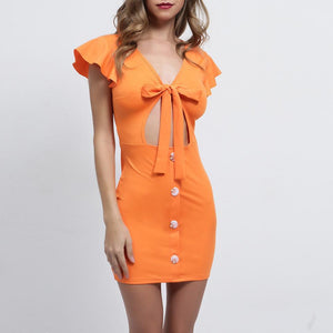 Solid Color Bow Wrapped Chest Emptiness Umbilical Hip Dress