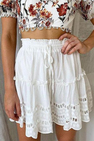 Embroidered Front Waist Strap   Hem Apron A-Line Skirt
