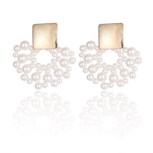 Openwork Pearl Fan-Shaped Metal Brushed Textured Earrings