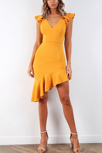 V Neck Backless Ruffled Straps Asymmetrical Midi Bodycon Sexy Dress