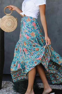 Wind Positioning Printed Elastic Waist Strap Skirt