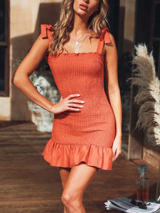 High Waist Slim Pleated Ruffled   Strap Mini Dress