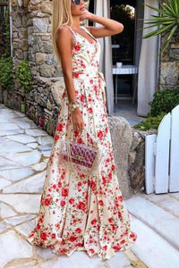 Sexy Sleeveless Sling Print Maxi   Dress