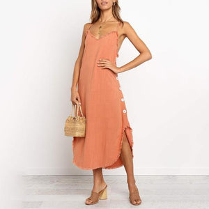 Sexy Halter Sling With Raw   Cotton And Linen Dress