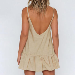 Solid Color Loose Strap Mini   Dress