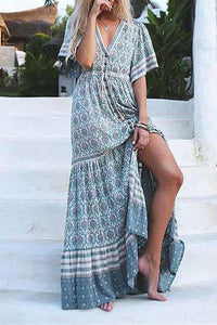 V-Neck Short-Sleeved Printed   Holiday Dress