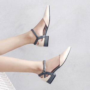 Fashion Wild Buckle Thick Heel Pointed-Toe Ladies Sandals