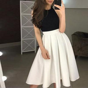 Sexy Off-The-Shoulder Stitching Contrast Dress