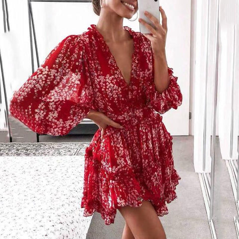 Boho Floral Pattern Bare Back Long Sleeve Dress