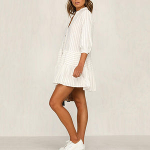 Loose Fashion Striped Shirt Mini   Dress