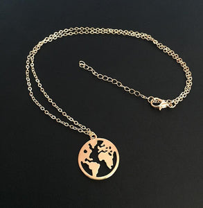 Geometric Circle World Map Sleek Minimalist Alloy Single Layer Neck Chain Clavicle Chain