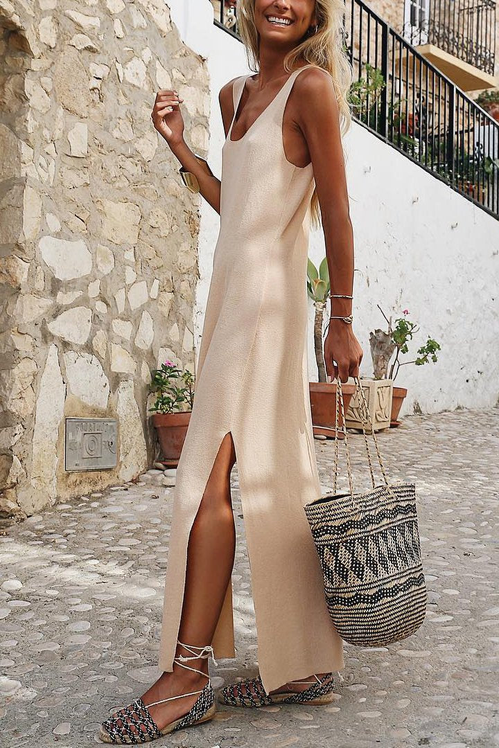 Stylish Casual Solid Color Side   Slit Dress