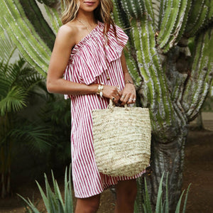 Hot Cotton Fungus Slanted Shoulder Stripe Dress
