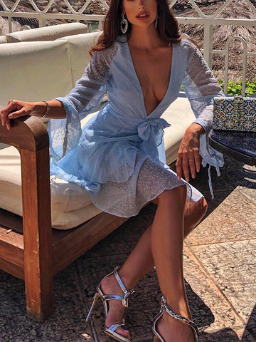 Sexy V-Neck Solid Color Mini Dress(Video) Sky Blue & White