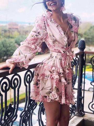 Sexy V Neck Long Sleeve Printed Colour  Mini Dress