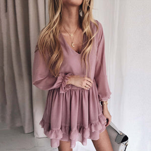 Casual V-Neck Long Sleeve Solid Color Waist Dress