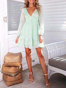 V-Neck Print Stitching Halter Mini Dress