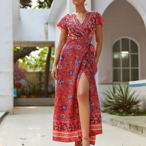 Summer Casual Print V-Neck Sexy Dress