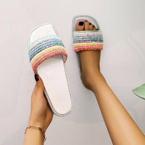 2019 Summer New Net Red Rainbow Slippers