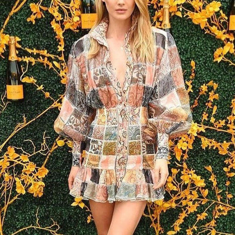 Vacation Lantern Sleeve Square Pattern Ruffle Long Sleeve Mini Dress