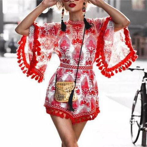 Ethnic Style Printed Flared Sleeve Slim Fit Fringed Long Sleeve Mini Dress