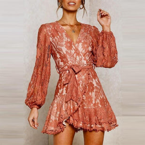Sweet V Neck Belted Long Sleeve Bell Sleeve Dress