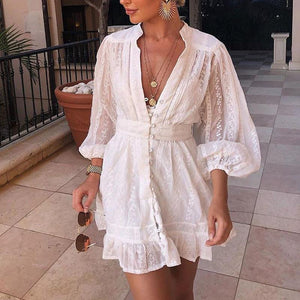 Lace V Neck Pure Colour Single-Breasted Long Sleeve Ruffled Dress