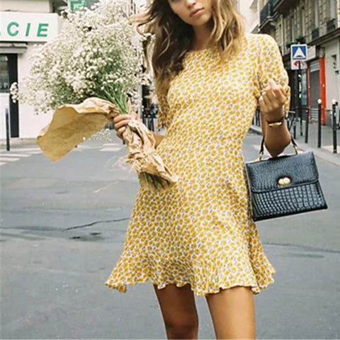 Casual Floral Printed Round Collar Dress