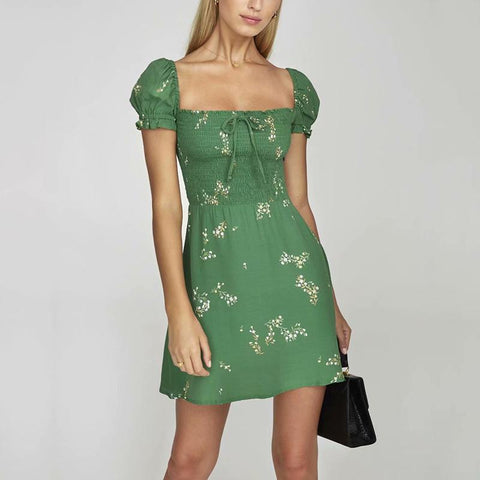 Casual Printed Bowknot Square Neck Dress