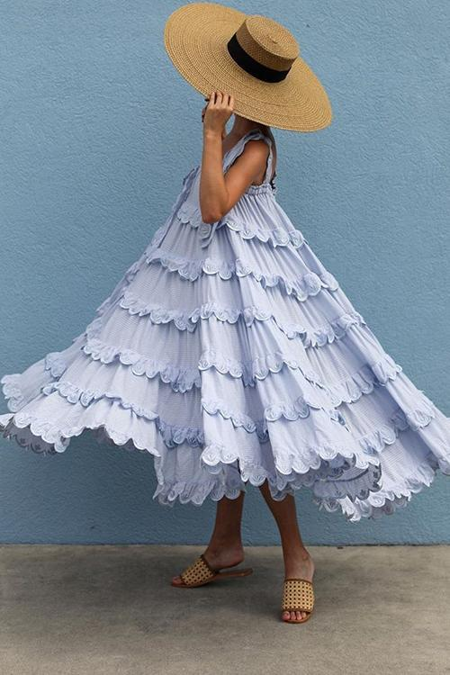 Shoulder Flounce Ruffle Frill Maxi Dress