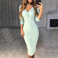 Sexy V-Neck Zip Slim Dress