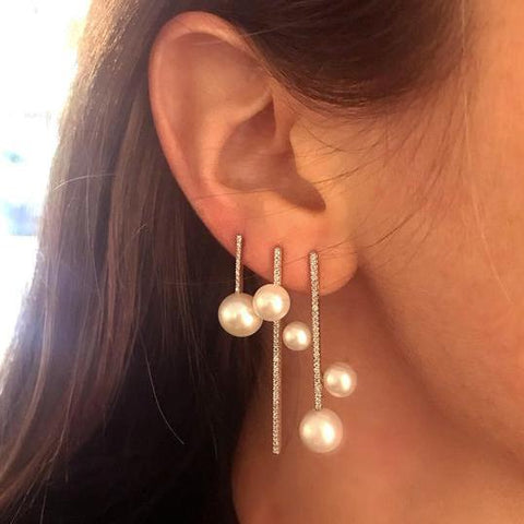 Woman Diamond Pearl Earrings