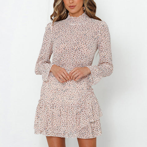Long Sleeve Ruffled Short Floral Waist Dress