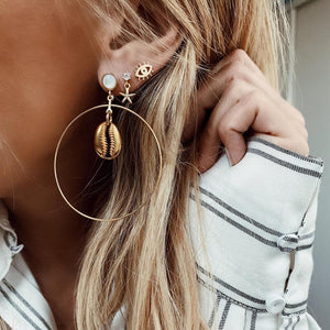 Starfish Shell Eardrop Big Circle Earring Personality Beach Natural Gold-Plated Three-Piece Earrings