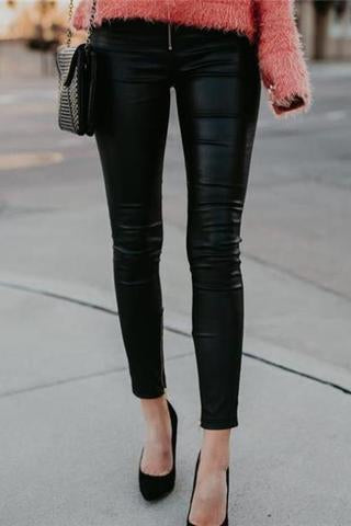Lady Casual Fashion Leather Close-Fitting Pants