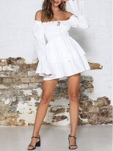 Shoulder Strapless Design Loose   Mini Dress(Video)