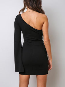 Sexy One-Shoulder Tight Mini Dress(Video)