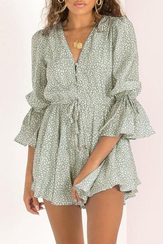 V-Neck Printed Long Sleeve Mini   Dress