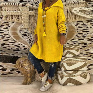 Hooded Plain Loose Long Sleeve Knitting Long Sweaters