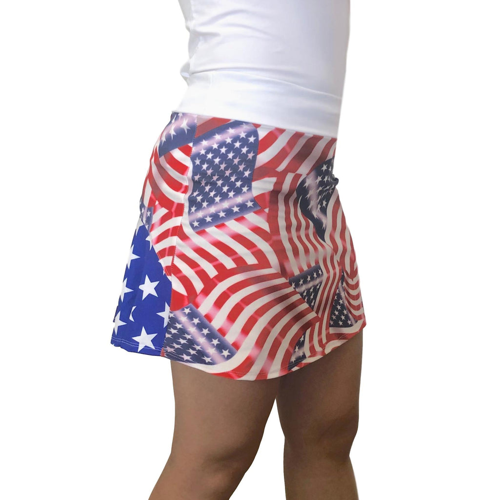 Flags w/ Stars Patriotic Athletic Flutter Skort - Smash Dandy