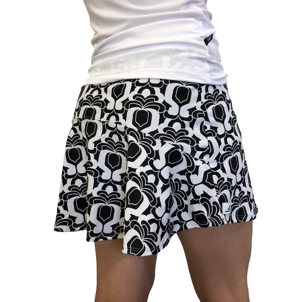 Black White Abstract Athletic Flutter Skort - Smash Dandy